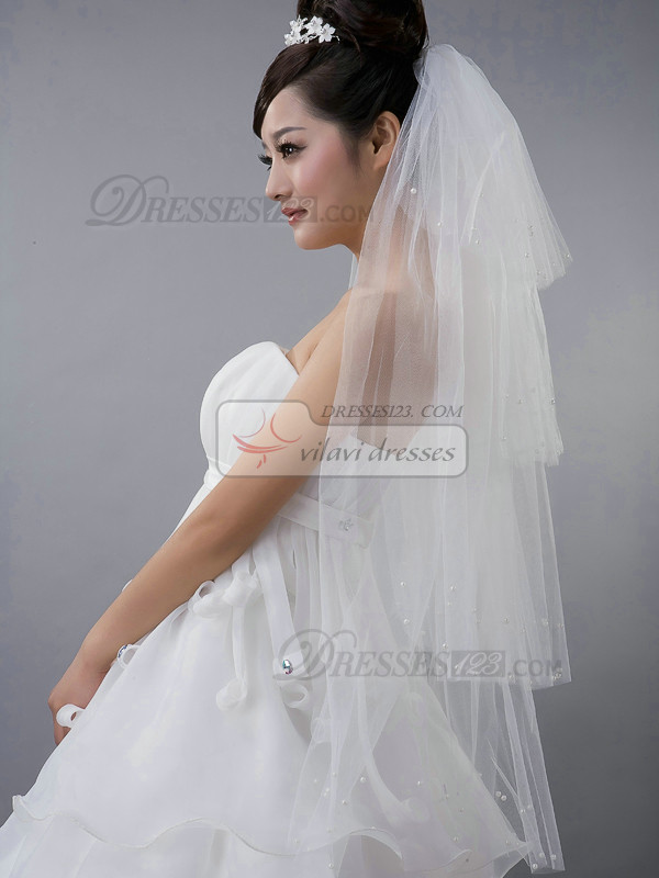 Four Layers Tulle Fingertip Length Cut Edge Wedding Veil With Beads