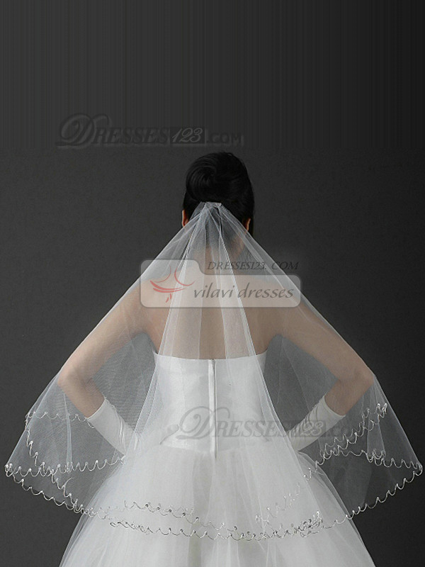Three Layers Tulle Scalloped Edge Wedding Veil With Sequin