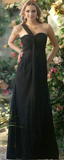 A-line Chiffon One shoulder Floor-length Black Draped Bridesmaid Dresses