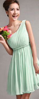 A-Line One Shoulder Draped Short Sage Bridesmaid Dresses