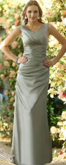Sheath Stretch Satin V-neck Ankle-length Sashes Silver Bridesmaid Dresses